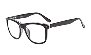 a9f6993aaaab Eyekepper Readers Square Large Lenses Spring-Hinges Reading Glasses Men  Women Black +0.75 with