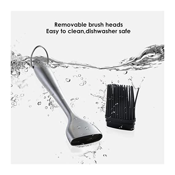 Silicone Basting Brush BBQ Grill Pastry Brush for Baking and Cooking, Safe Heat Resistant, Stainless Steel Handles, Set of 2, with Free Wall Hook, 12 Inch/8 Inch 6 ★ HEALTHY TASTELESS AND INTIMATE LIFE : Premium stainless steel handles bbq basting brush set and eco-friendly silicone.Standard food silica gel, high elasticity, healthy, safe and non-toxic, and heat resistant. Silica gel head is soft, moderate and tough, good kinking and not easy to deform. In the family warm barbecue, you can use it rest assured to add seasoning. ★ MULTI-FUNCTION : Small Tool , Big Function. You can use it for Western steak, barbecue kebab, frying pan, bread, sauce, honey, butter chocolate sauce, sauce, jam and so on. You can use it do whatever you can. ★ USEING INSTRUCTIONS : ① Before use, please clean the silica gel brush and wipe it with a soft rag before use. ② After use and cleaning, please clean it with a soft rag and store it in a cool and dry place.