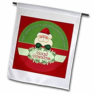 3dRose fl_38744_1 Santa I Have Been a Very Good Grandma This Year in Red and Green Garden Flag, 12 by 18-Inch