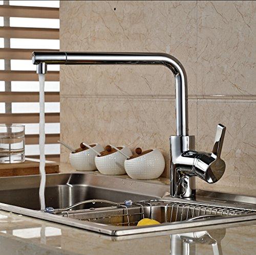 CZOOR Deck Mount Rotation schwenkbarer Auslauf Spüle Wasserhahn Messing Einhebelsteuerung Küche Mischbatterien Chrom