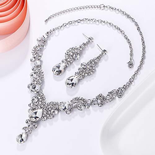 EVER FAITH Austrian Crystal Bridal Floral Wave Teardrop Necklace Earrings Set 3