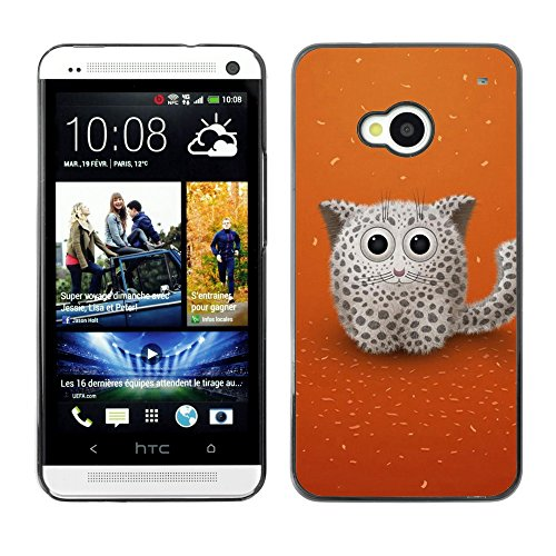 Soft Silicone Rubber Case Hard Cover Protective Accessory Compatible with HTC ONE M7 2013 - Cute Snow Cat