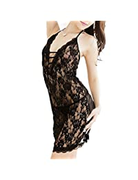 FOREVER YUNG A Transparent Black Mesh Lace Sexy Nightgown One Size