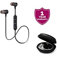 Forestone Magnetic Bluetooth Headphones with Noise Isolation and Hands-Free Mic with Multi-Purpose Round Earphone Carrying Case for All Smartphones