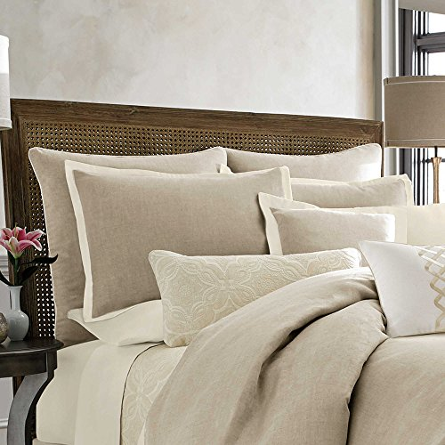 Wamsutta Collection Luxury Italian Made Salerno European Pillow Sham in Linen Ivory (Collection Salerno)
