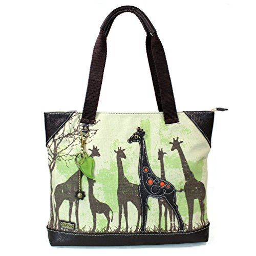 Giraffe Handbag Purse - Chala Safari Forest Animal- Large Canvas Tote Shoulder handbag with detachable Purse Charm - Giraffe Tote