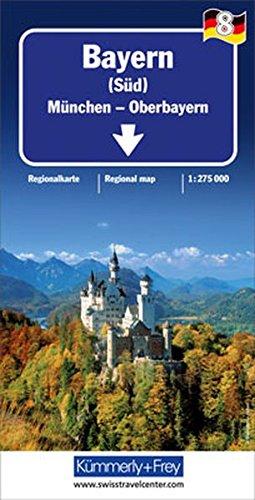 Bayern Süd 1 : 275.000 mit touristischen Informationen und Index (Kümmerly+Frey Reisekarten)