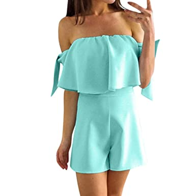 08e1ef6e02 Alixyz Women s Rompers Strapless Tube Top High Waist Solid Color Flounce  Jumpsuit (S