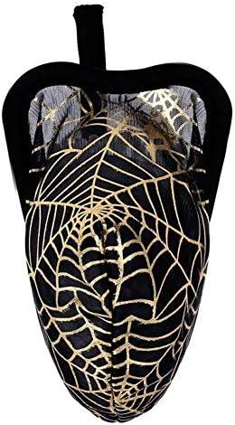 メンズ皮ひも、ブリーフ C-文字列バルジポーチビキニの下着を通じメンズランジェリーゴールドスパイダーウェブパターンを参照してください 男性のための (Color : Black, Size : One Size)