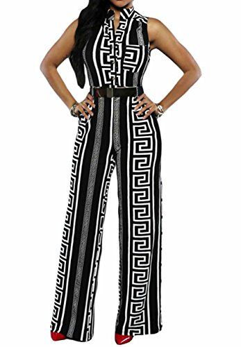 Belted Suit (roswear Women's Sexy Plunge V Neck Belted Wide Leg Jumpsuits Romper Black Print Large)