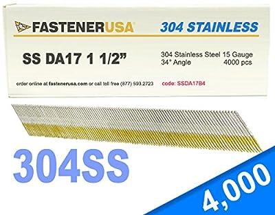 "1 1/2"" DA17 Angle Finish Nails 15 Gauge 304 Stainless Steel 4M Box by FastenerUSA"