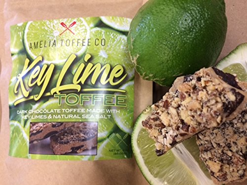 Amelia Toffee Key Lime - Buttery Toffee Mixed with All Natural Key Limes Coated in Dark Chocolate, Sprinkled with Roasted California Almonds and Finished with Sea Salt - Incredibly - Sunflower Toffee