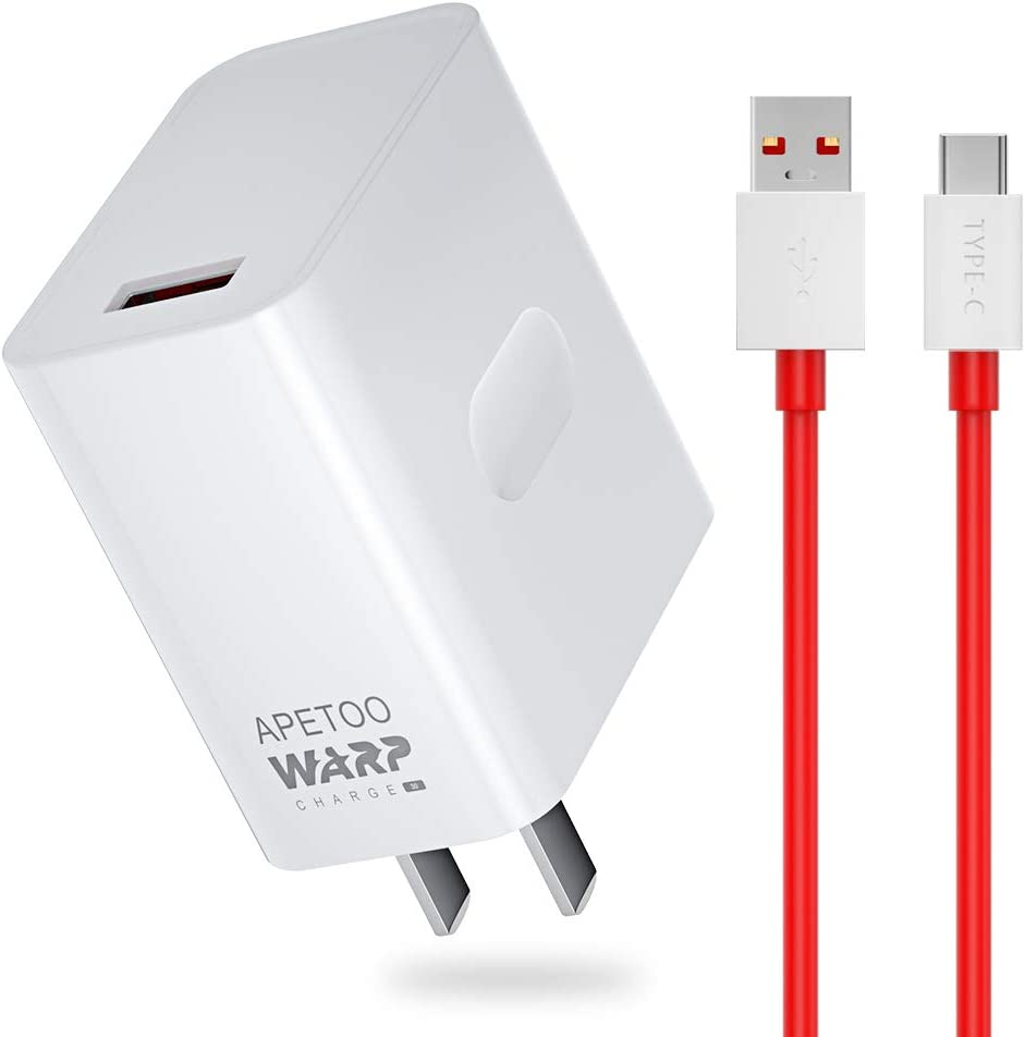 APETOO OnePlus 7 Pro Warp Charger 30W, 5V 6A Wall Charger Adapter with 6ft OnePlus USB C Fast Charging Cable, Type C Fast Charger Data Sync Charging Cord for OnePlus 7 Pro/ 7/ 6T/ 6/ 5T/ 5/ 3T/ 3