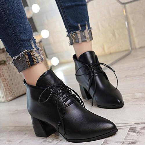 Lace Pointy Noir L Chaussures Joker Boots Femmes Talons yc Black Rouge Short Bold Hauts Fashion qwIWHXf7UI