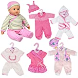 New Born Baby Doll Set of 6 Outfits 12-16' Baby Dolls Clothes Romper Pink Dress