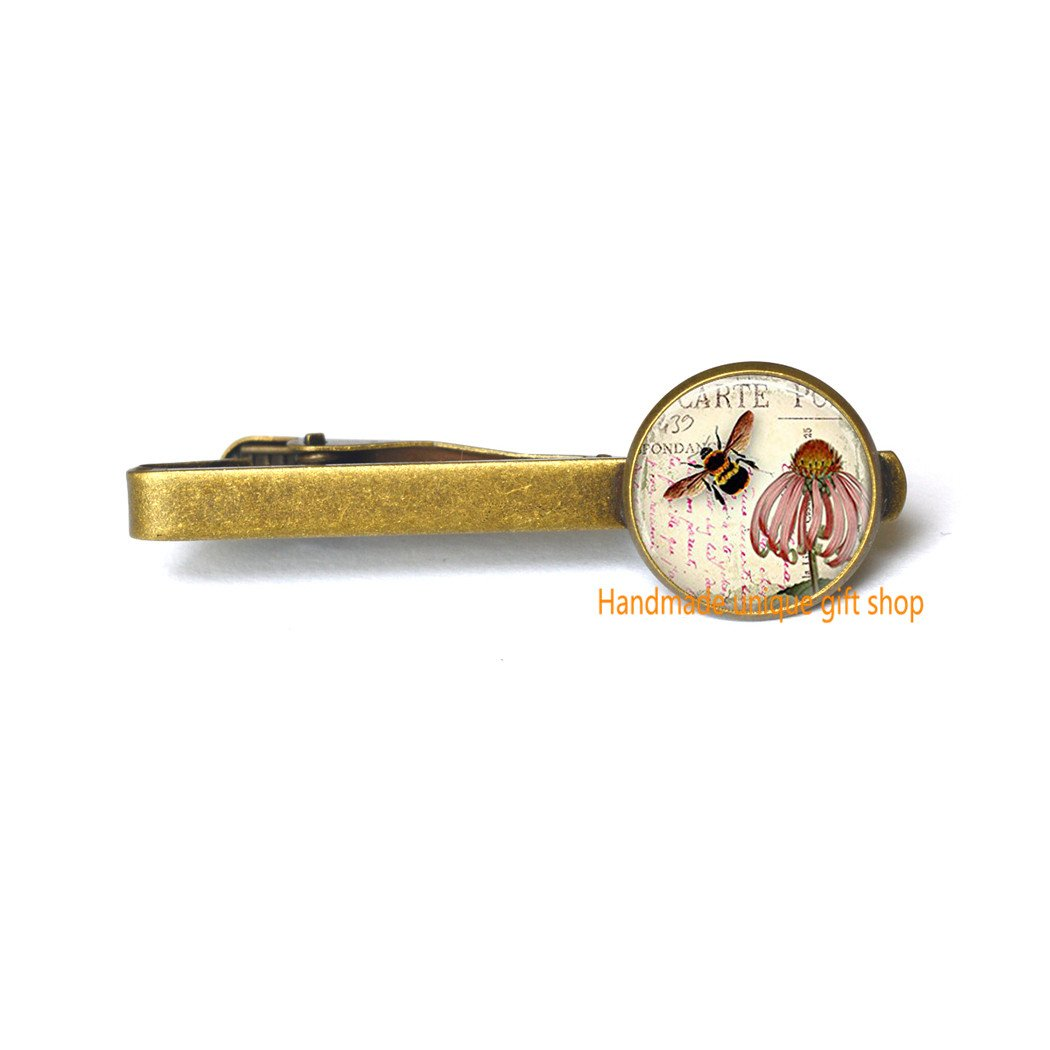 Handmade unique gift shop Modern Fashion Tie Clip,Beautiful Tie Clip,Bee Tie Clip Honeybee Jewelry Coneflower Garden Flower Floral Art Tie Pin-RC250 Bee Tie Clip Honeybee Jewelry Coneflower Garden Flower Floral Art Tie Pin-RC250 A