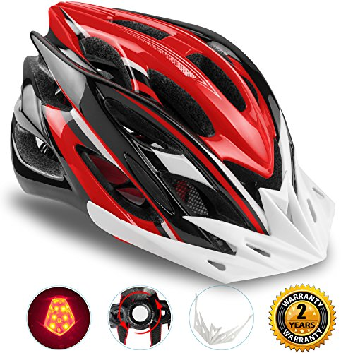 Basecamp Specialized Bike Helmet with Safety Light,Adjustable Sport Cycling Helmet Bicycle Helmets for Road & Mountain Motorcycle for Men & Women,Youth Safety Protection (BlackWhiteRed-BigLight)