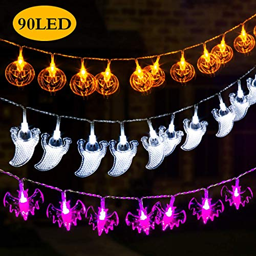 GIGALUMI Halloween Decoration Lights Halloween String Lights,Set of 3 Battery Operated Fairy Lights 12ft Pumpkin Bat Ghost String Lights with 30 LED Each for Indoor/Outdoor Halloween, Party