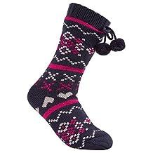 Ladies Long Knitted Slipper Socks with Full Soft Fleece Lining