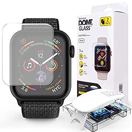 Dome Glass Screen Protector for Apple Smart Watch 5 and 4 (40mm) Liquid Adhesive for Full Coverage Tempered Glass and Protection for Apple Smartwatch ...