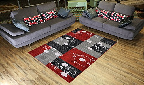Designer Collection Squares and Flowers Design Contemporary Modern Area Rug Rugs 3 Different Color Options (Red,