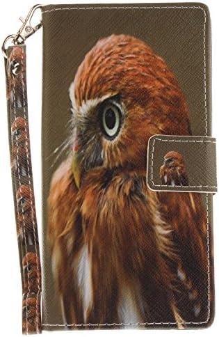 ISAKEN Sony Xperia XZ Hülle, PU Leder Flip Cover Brieftasche Geldbörse Wallet Case Ledertasche Handyhülle Tasche Schutzhülle mit Handschlaufe Strap Standfunktion für Sony Xperia XZ - Adler Jung