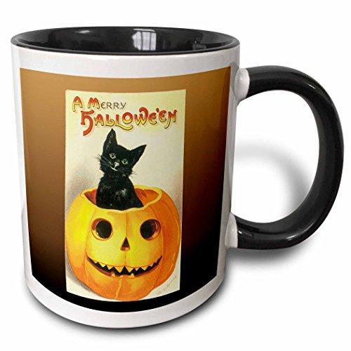 3dRose BLN Vintage Halloween - Vintage A Merry Halloween with a Black Cat sitting in a Jack O Lantern Pumpkin - 15oz Two-Tone Black Mug (mug_126074_9)