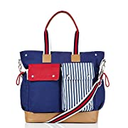 Doting Mum's 10 Pocket Premium Diaper Bag Perfect Gift for New Moms with Boys or Girls Baby's Organiser Weekender Baby Bag Tote Style Nappy Bag Fashion Maternity Bag W/Changing Mat