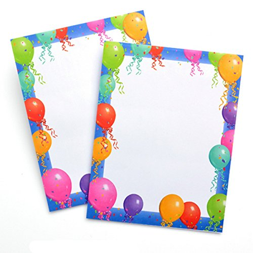Balloon Border Stationery Printer Paper 25 Sheets (Stationery And Invitations)