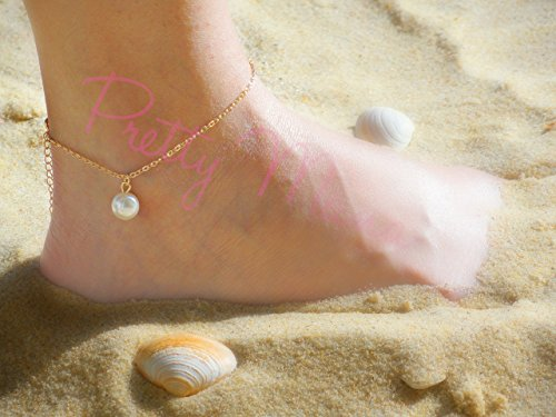 Single Pearl Anklet, Gold Filled or Sterling Silver, Freshwater Pearl, Beach Jewelry, Delicate Ankle Bracelet, Solo Pearl, By Pretty Mana ()