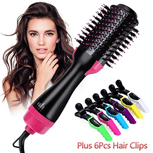 Hot Air Brush,ONME One Step Hair Dryer & Volumizer Multi-functional 3-in-1 Salon Negative Ion Hair Straightener & Curly Hair Comb include 6pcs Plastic Alligator Hair Clips.