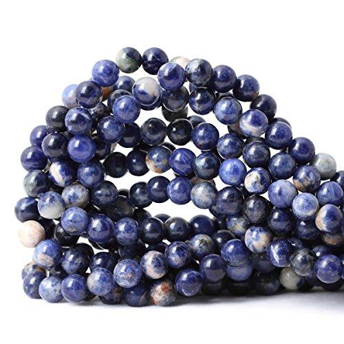 "Qiwan 45PCS 8mm Natural Orange Blue Sodalite Gemstone Loose Round Beads Crystal Energy Stone Healing Power for Jewelry Making 1 Strand 15"""