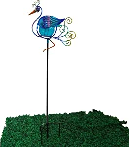 "Comfy Hour 31"" Height Blue Metal Art Solar Peacock Garden Stake"