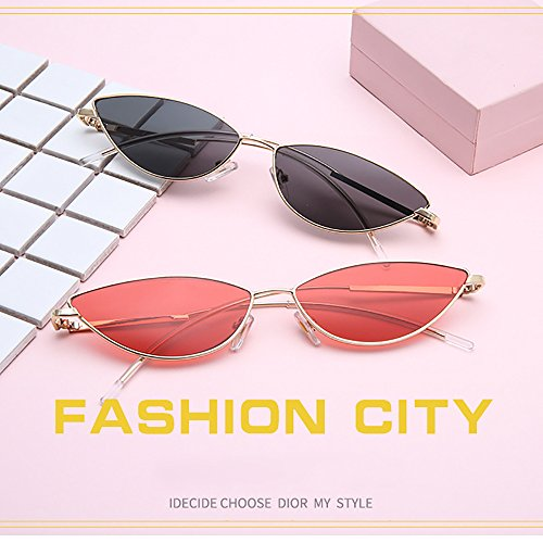 de sol sol de unisex Gafas Gafas de INS gato Slender Ojo ovaladas transparentes Frame Small Steampunk Naranja vintage Para Gafas 6R5Fq