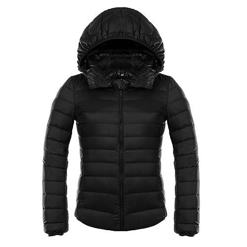 Mujer Chaqueta acolchada para chaqueta abajo abajo cubre Jack transición chaqueta udadera con capuch...