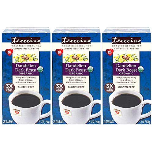 delion Dark Roast Chicory Herbal Tea Bags, Gluten Free, Caffeine Free, Acid Free, 25 Count (Pack of 3) ()