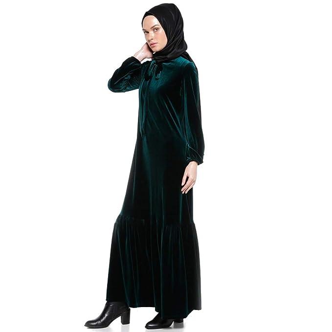 BOZEVON Vestido Largo Musulmán de Las Mujeres - Vestido de Las Batas de Terciopelo Suave - XL/Verde: Amazon.es: Ropa y accesorios