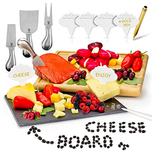 Cheese Board Set by Great Beyond Creations: Complete Kit of Slate and Bamboo Board, 4 Knives, 6 Ceramic Markers, Gold Pen, and Chalk in a Gift Box