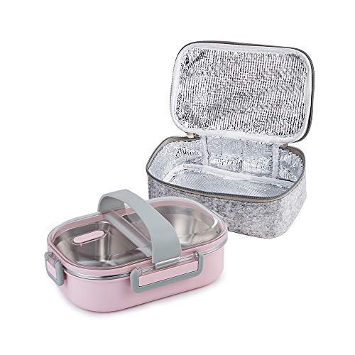 Lille Home 22oz Stainless Steel Leakproof 2-Compartment Lunch Box, Bento Box, Portion Control Food Container with Insulated Lunch Bag, Adults, Men, Women(Pink)