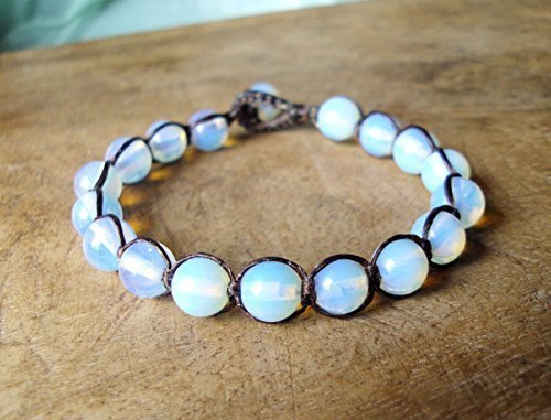 Opal Matte Gray bracelet  8mm beads  Stretch Bracelets