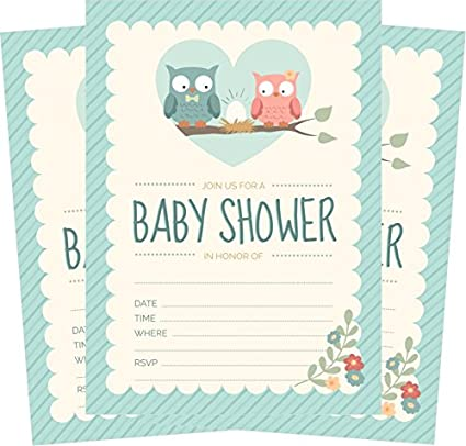 Amazon Com Owl Baby Shower Invitations Blue For Boy 24 Count 5x7