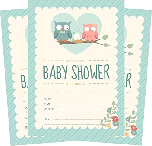 Owl Baby Shower Invitations Blue for Boy (24 Count) 5x7 Invites with Envelopes -