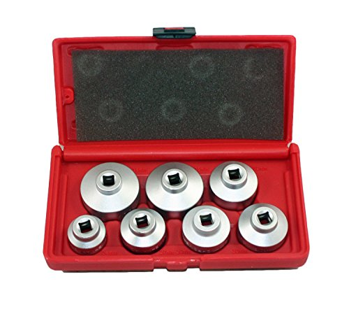 ABN Oil Filter Cap Wrench Metric 7-Piece Socket Set Tool Kit 24mm to 38mm for BMW, Mercedes, VW Paper Cartridge ()