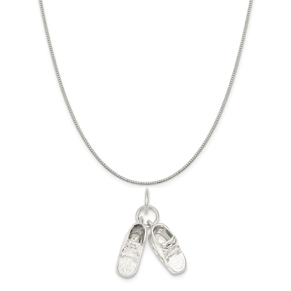 Mireval Sterling Silver Baby Shoes Charm on a Sterling Silver Chain Necklace 16-20