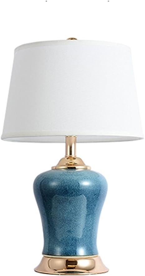 Zxw Comodino Luce Panno Ceramica Lampada Da Tavolo Moda E27 40w 1 Colore Blu Amazon It Illuminazione