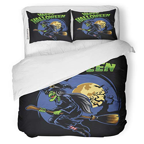 SanChic Duvet Cover Set Candy Halloween Witch and Flying Broom Cartoon Celebration Decorative Bedding Set with 2 Pillow Cases Full/Queen Size