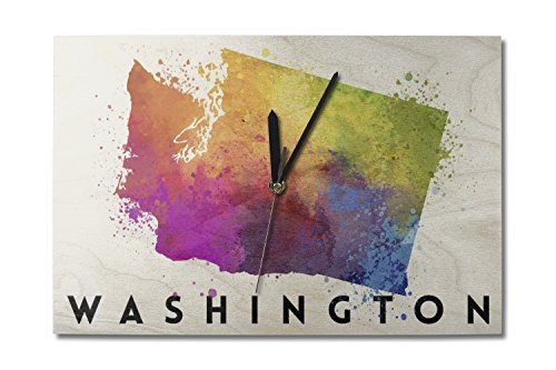 Washington - State Abstract Watercolor (10x15 Wood Wall Clock, Decor Ready to Hang) (Retro Color Washington)