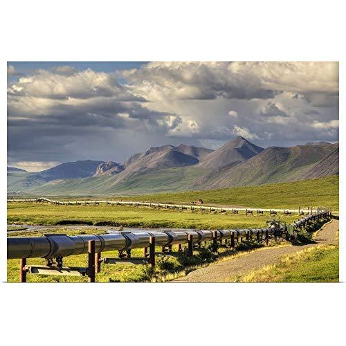"GREATBIGCANVAS Poster Print Entitled Semi Truck Driving The Haul Road Along The Trans Alaska Oil Pipeline, Arctic Alaska by Lucas Payne 18""x12"""