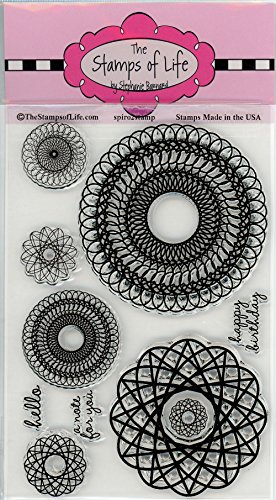 Spiral Design Stamp - Spiral Designs Clear Rubber Stamps for Card Making Decoration and DIY Scrapbooking by The Stamps of Life - Spiros2Stamp