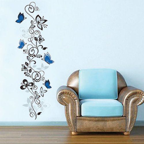 1 X Blue Butterflies and Hanging Vines Wall Sticker